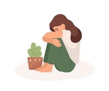 Sad Young Girl Flat Vector Ill...