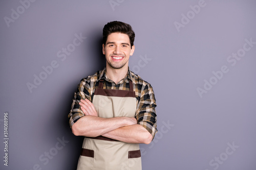 Photo of handsome brunet guy arms crossed friendly smiling positive good mood pr Wallpaper Mural