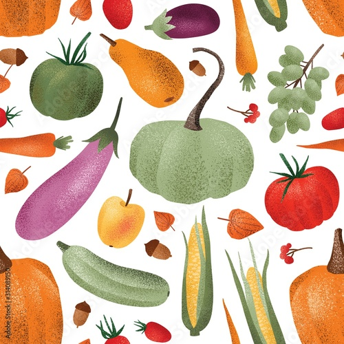 Fototapeta Autumn harvest vector seamless pattern. Ripe vegetables fruits and berries cartoon illustrations. Fall season agricultural produce wallpaper design. Organic veggies store wrapping paper print obraz