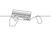 Hand On Keyboard And Mouse One Line Drawing