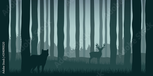 Naklejki wilk  wolf-is-watching-elk-in-green-forest-wildlife-nature-landscape-vector-illustration-eps10