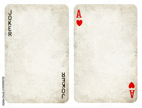 Photo Vintage Playing Cards, Set include Jocker and Ace  - isolated on white
