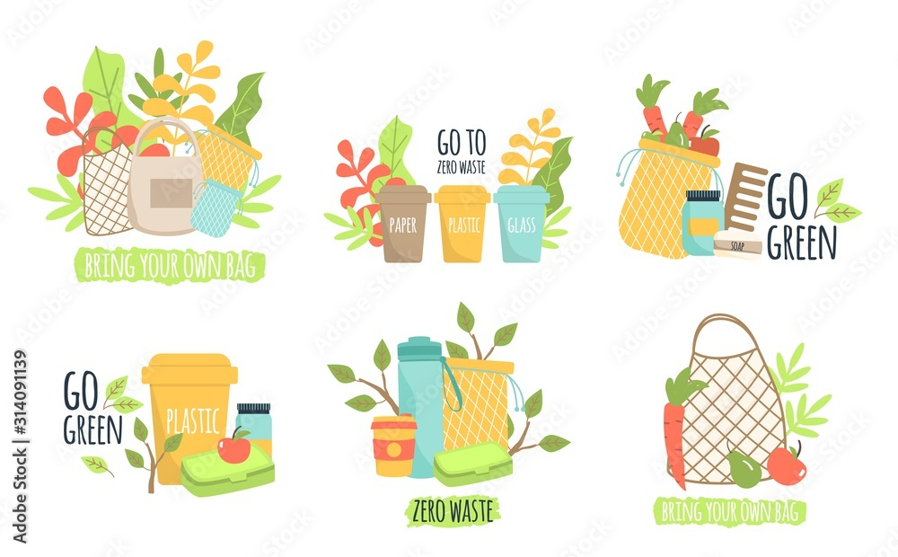 Fototapeta Zero waste recycle ecology protection vector illustration.
