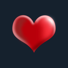 Cover With Red Heart On A Blue Black Background