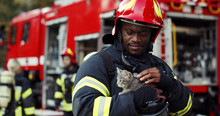 Portrait Of Heroic Fireman In ...