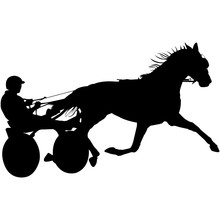 Isolated Harness Racing Silhouette Vector