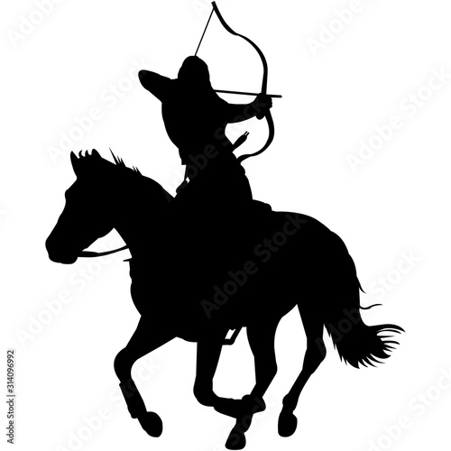 Obraz na plátne Isolated Horseback Archery Silhouette Vector
