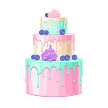 Colorful Birthday Cake Decorated With Berries Vector Illustration.