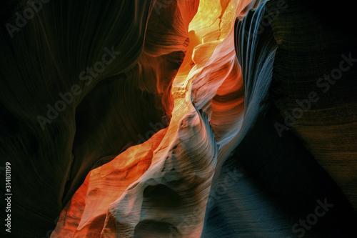Water Holes Slot Canyon aglow with reflected sunlight, Arizona, USA