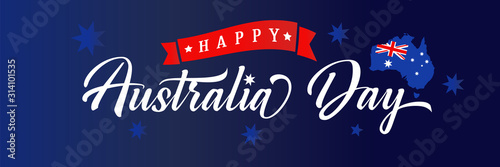 Happy Australia day elegant lettering poster. Map of Australia with flag, calligraphy with red ribbon and blue stars. 26 January, Australian holiday sale. Vector illustration