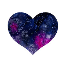 Watercolor Cosmic Heart With S...