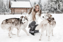 Happy Young Woman Playing With Siberian Husky Dogs In Winter Day.Attractive Young Woman With Dog In Wintertime Outdoor