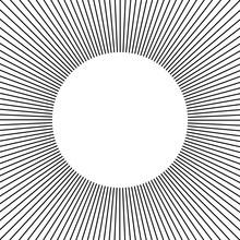 Circle Frame. Line Rays Round Border.