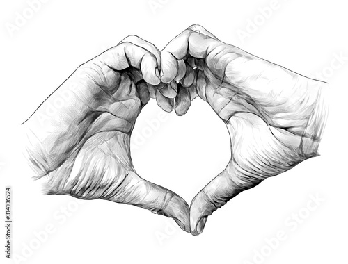Fotografía men's palms folded in heart shape, sketch vector graphic illustration on white b