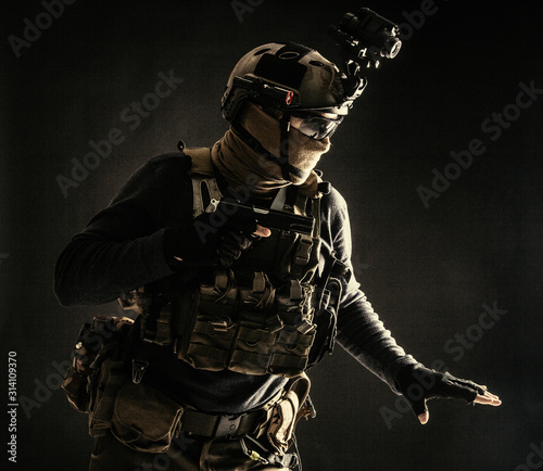 Fotografia, Obraz  Special operations fighter in helmet with night-vision, thermal imaging device,