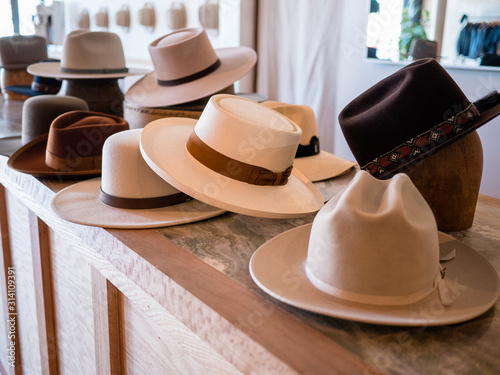 Fototapeta Fashionable hat display in retail store obraz