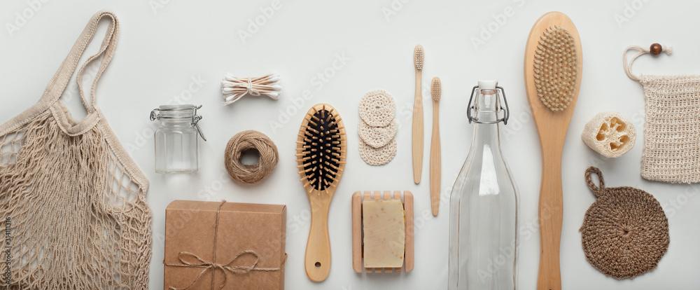 Fototapeta Set of zero waste and plastic free cosmetic tools on white