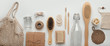 canvas print picture - Set of zero waste and plastic free cosmetic tools on white