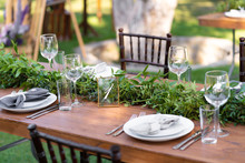 Preparing For An Open-air Party. Decorated With Fresh Flowers Served Tables. Table Number. Decoration Details