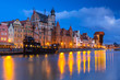 canvas print picture - Beautiful scenery of the old town in Gdansk over Motlawa river at dawn, Poland.