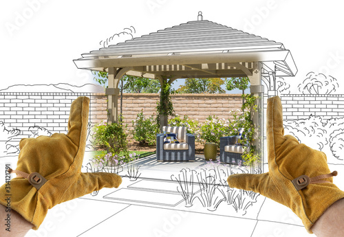 Male Contractor Hands Framing Completed Section of Custom Pergola Patio Cover De Fototapeta