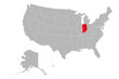 Indiana state highlighted on USA political map vector illustration. Gray background.