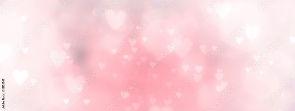 Fototapeta Abstract pastel background with hearts - concept Mother's Day, Valentine's Day, Birthday - spring colors