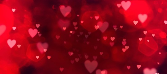 Valentines day background banner - abstract panorama background with red hearts - concept love