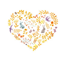 Vintage Heart - Autumn Leaves, Rabbits, Birds. Watercolor
