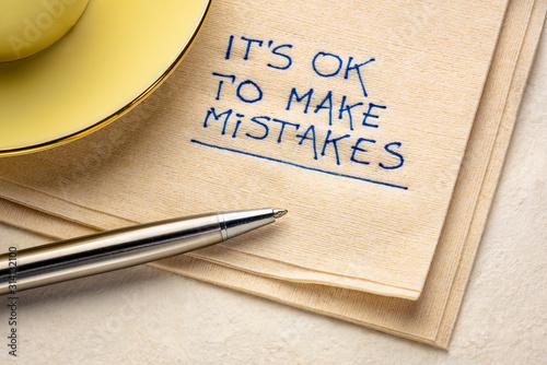 Fototapeta It is OK to make mistakes inspirational reminder