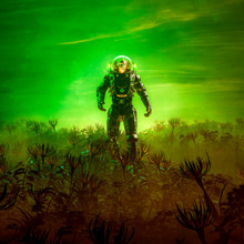 Gardens Of Venus / 3D Illustration Of Surreal Science Fiction Scene With Lone Astronaut Walking Through Field Of Alien Plants