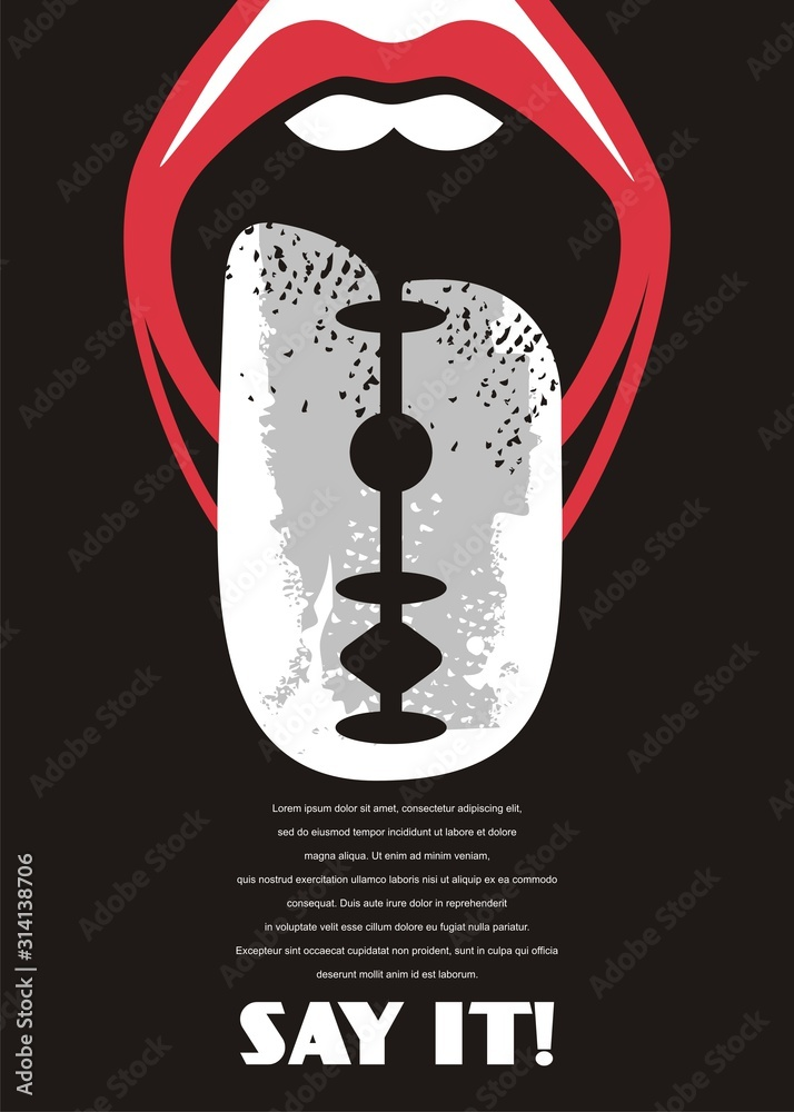 Fototapeta Say the truth no matter how hurtful it may be. Sharp tongue conceptual poster idea for criticism, independent journalism or free speech. Open mouth and razor symbolic design vector illustration.