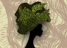 African Wedding Hairstyle Head Wrap, Colorful Head Scarf, Beautiful Portrait Afro Woman In Traditional Head Tie Scarf Turban In Peacock Texture. Jungle Afro Safari Tropical Pattern Background