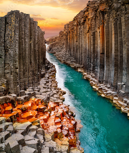 Breathtaking view of Studlagil basalt canyon, Iceland, Europe. Wallpaper Mural