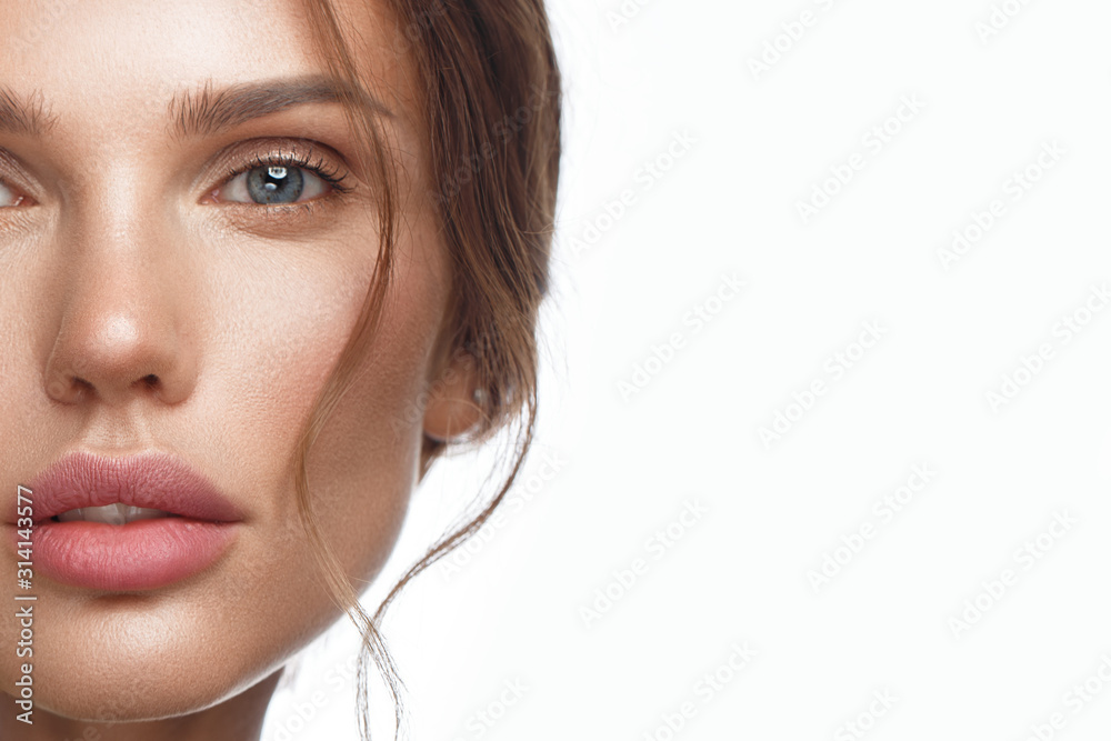 Fototapeta Beautiful fresh girl with perfect skin, natural make-up. Beauty face.
