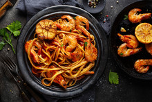 Pasta Spaghetti With Shrimps A...