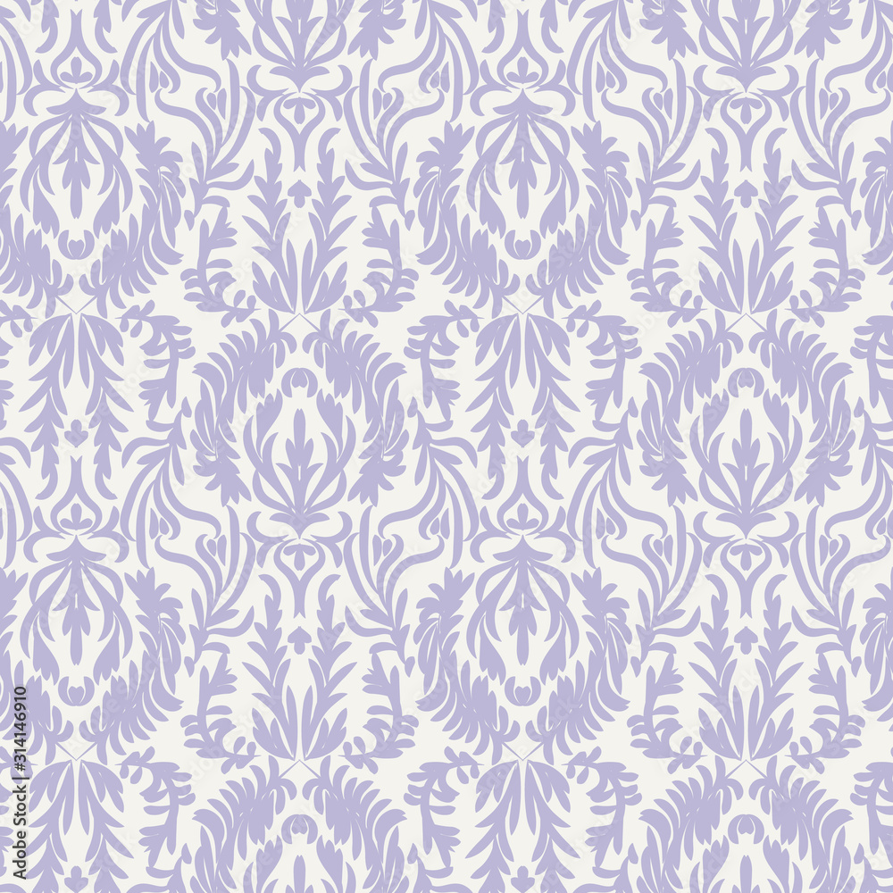 A vintage pastel damask seamless vector pattern background. Decorative ornate surface print design. Great for elegant fabrics and stationery.