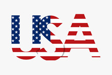 USA Lettering Isolated On Whit...
