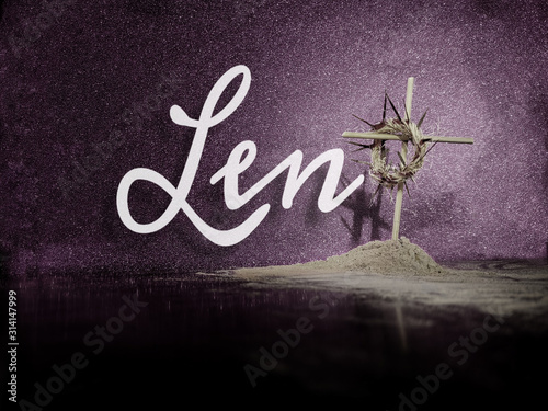 Lent Season,Holy Week and Good Friday concepts - Word Lent with a woven crown of Canvas-taulu