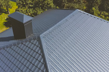 Gray-blue Metal Roof Tiles On ...