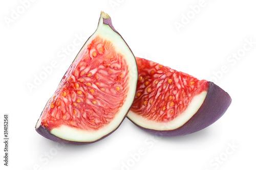 Fresh fig slices fruit isolated on white background