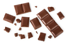 Piece Of Chocolate Isolated On White Background With Clipping Path. . Top View. Flat Lay.