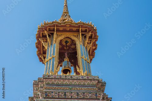 Photo Bell Tower, Architectonic Details within Grand Palace Area in Bangkok, Thailand
