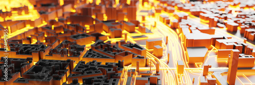 obraz PCV Techno mega city; urban and futuristic technology concepts, original 3d rendering