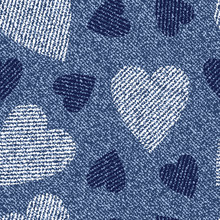 Jeans Background With Hearts. ...