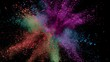 Colorful powder exploding on black background in super slow motion, close-up.