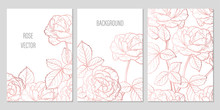 Rose Gold Vintage Flower And Leaves. Vector Wedding Set Of Summer Floral Greeting Card, Banner And Background With Roses Flowers. Hand Drawn Garden Flowers Sketch Frame With Copy Space For Text.