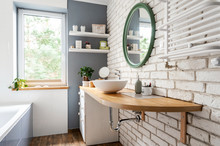 Bright Interior Of Bathroom Wi...