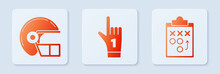 Set Number 1 One Fan Hand Glove With Finger Raised, American Football Helmet And Planning Strategy Concept. White Square Button. Vector