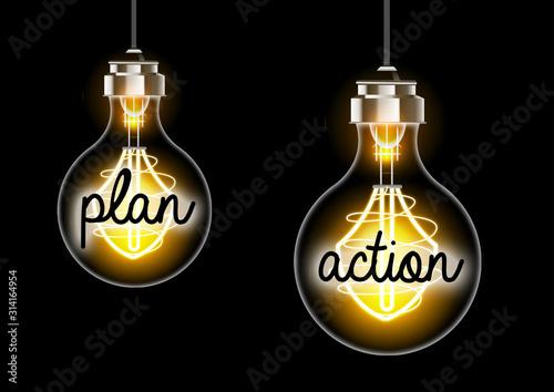 Obraz Concept plan et action ampoule electriques - fototapety do salonu